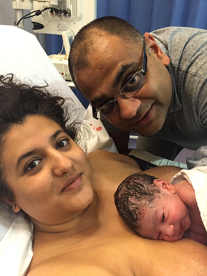 Baby Siya is a few minutes old with mum Dee and dad Jay